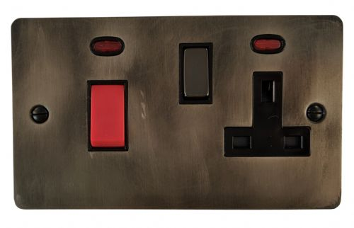 G&H FSL329 Flat Plate Slate 45 Amp DP Cooker Switch & 13A Switched Socket